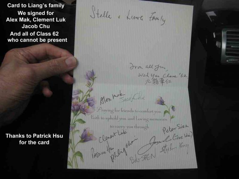 2. Card to Liang's Family from  Patrick Hsu( note names)
