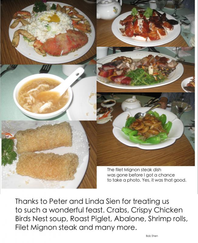 Peter Sien's Banquet dishes